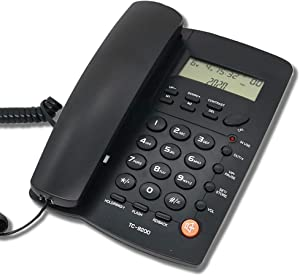 HePesTer Basic Corded Phone with Caller ID, Home Office Landline Phone with Adjustable Volume for Speakerphone/Alarm Clock/Speed Dial Function