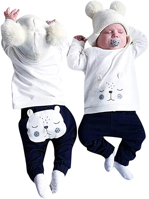 Infant Toddler Baby Boys Girls Clothes Set Fall Winter Outfits 6-24 Months ❤️ Long Sleeves Cartoon Bear Top Pants