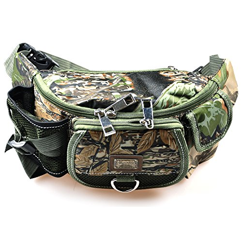 Tackle Pack - LUREMASTER Fishing Bag Multiple Pocket Waist Pack Adjustable Strap Portable Outdoor Fishing Tackle Bag Waterproof Army Green Camouflage Travel Hiking Cycling Climbing Sports