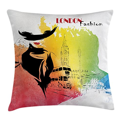 Fashion House Decor Throw Pillow Cushion Cover by Ambesonne, Classy and Royal Woman with Hat Symbol of Elegance Sixties in London Streets , Decorative Square Accent Pillow Case, 16 X 16 Inches, Pink (London Themed Pillows)