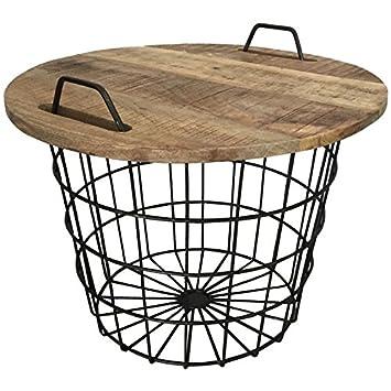 En Basket Panier Bois Marron D'appoint Basse Table OPlwkTiuXZ