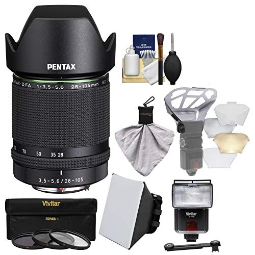 Price comparison product image Pentax HD-D FA 28-105mm f / 3.5-5.6ED DC WR Zoom Lens with Flash + Soft Box + Diffuser + 3 Filters Kit