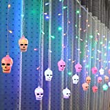 Ecloud Shop 3.5m Creative Halloween Skull String Light LED Curtain Lamp for Party Yard Garden Home Decorations (Colorful)