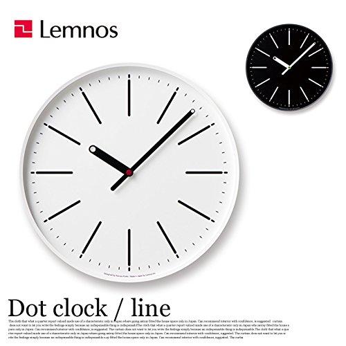 掛け時計 ドットクロック Dot clock ライン line KK15-13 レムノス Lemnos ホワイト ブラック ウォールクロック ホワイト B0793L2BY3ホワイト