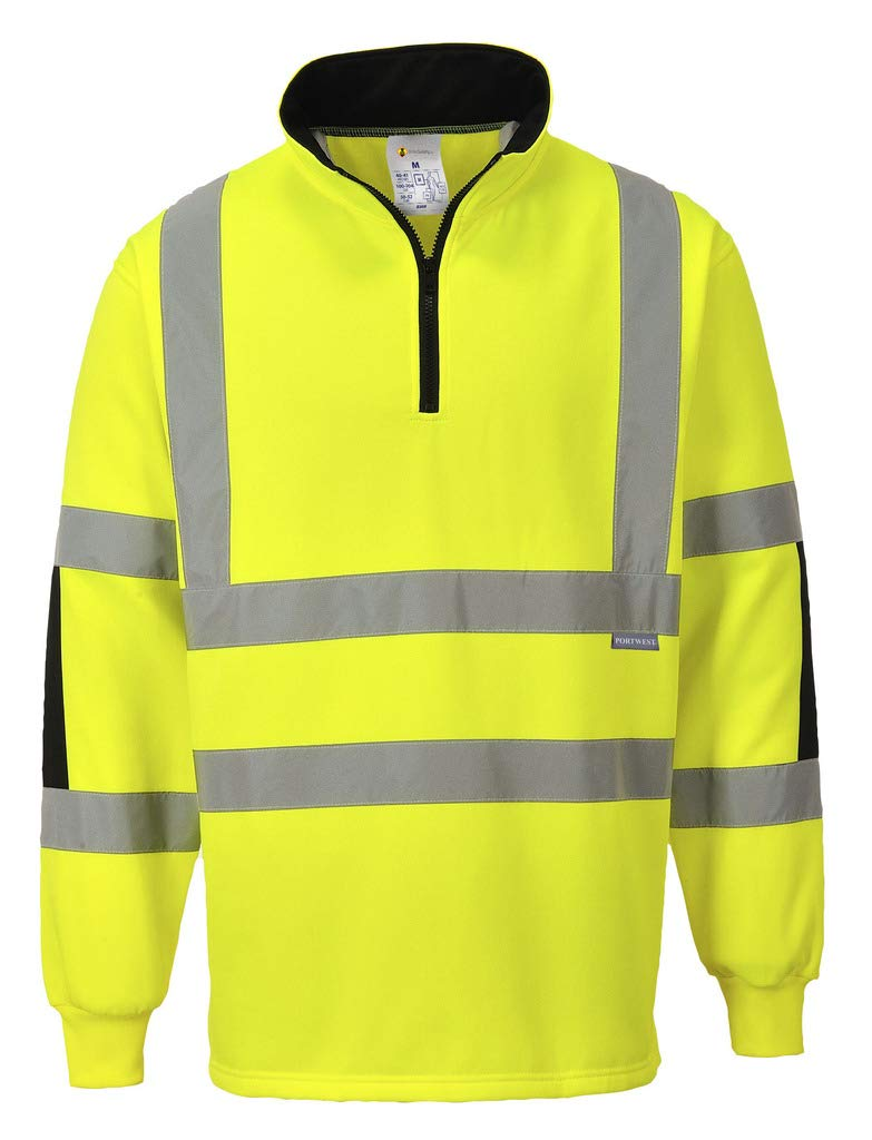Brite Safety Xenon Rugby Shirt High Visibility Shirts Long Sleeve Hi Vis Sweatshirts for Men and Women (Yellow,6XL)