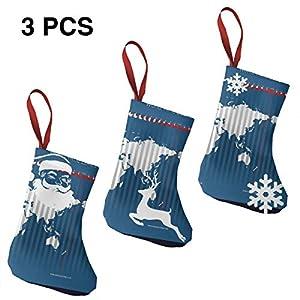 LEPO'S – Juego de 3 Calcetines navideños (19 cm, Papá Noel, muñeco de Nieve, Renos, mapamundi y Accesorios de Fiesta)