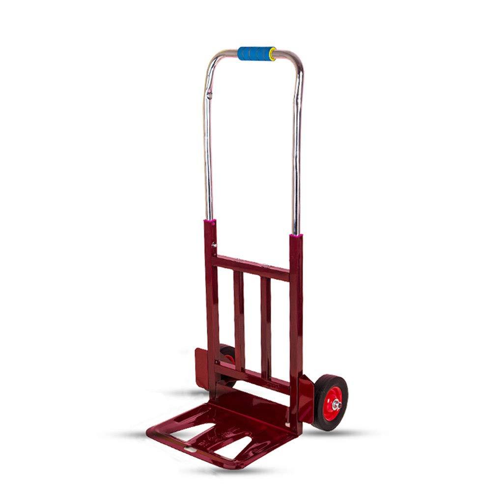 XF ショッピングキャリー ポータブルトロリー車トロリー折りたたみポータブル貨物カートトレーラートロリーアウトショッピングカートトロリー荷物カート (´••`) (色 : 赤) B07KVRP3KY 赤