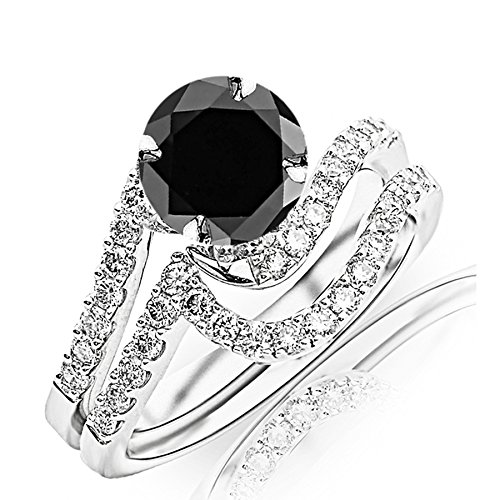 2.27 Carat t.w 14K White Gold Curving Pave & Prong-Set Round Diamond Engagement Ring and Wedding Band Set w/a 2 Carat Round Cut Black Diamond Heirloom Quality