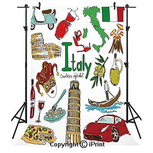 (Italy Photography Backdrops,Fun Colorful Sketch Collection Italy Icons Countries Alphabet Landmarks Food Culture Decorative,Birthday Party Seamless Photo Studio Booth Background Banner 3x5ft,Multicolo)