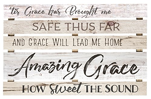Amazing Grace Lyrics White Wash 36 x 23 Inch Solid Pine Wood Skid Wall Plaque Sign