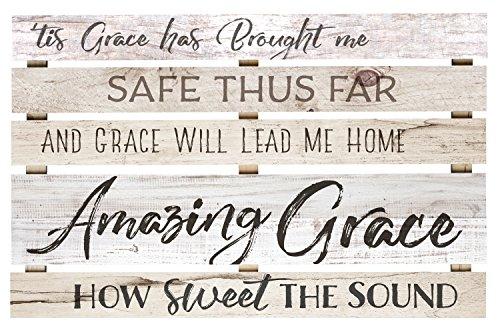 Amazing Grace Lyrics White Wash 36 x 23 Inch Solid Pine Wood Skid Wall Plaque Sign