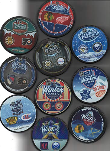 Winter Classic 9 Puck Lot Dueling 2008 2009 2010 2011 2012 2014 2015 2016 2017 2018 NHL + Free Cubes