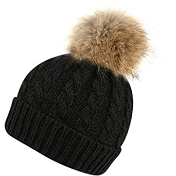 Womens Girls Knitted Fur Hat Real Large Raccoon Fur Pom Pom Beanie Hats (BN2354BLACK)