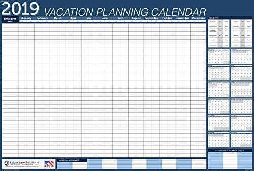 "2019 Vacation Planner (Blue) Laminated, Erasable Calendar 40x27"" (VPC) BLUE-40x27"