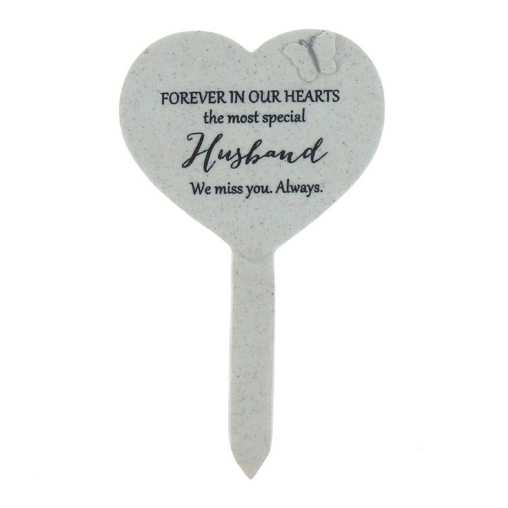Graveside Husband Heart and Butterfly Memorial Stake Funeral Garden ukgiftstoreonline