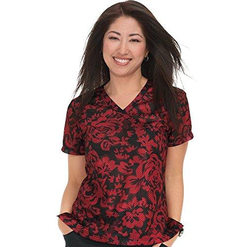 KOI Lite Women's Bliss Mock Wrap Floral Print Scrub Top Medium Print ()