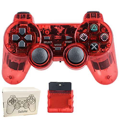 Saloke Wireless Gaming Console for Ps2 Double Shock (Clear Red)