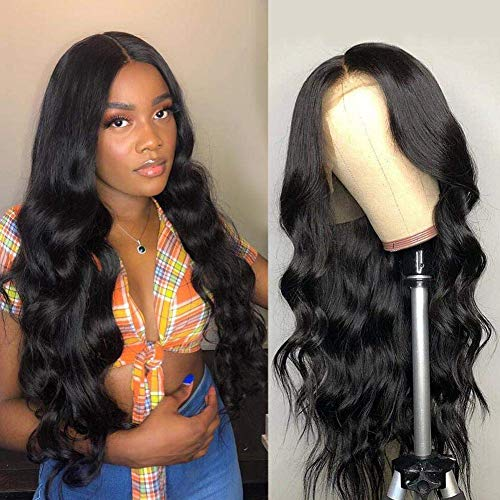 (Amella Hair 100% Unprocessed Virgin Brazilian Body Wave Human Hair Lace Front Wigs with Baby Hair 150% Density Pre Plucked Natural Hairline wigs for Black Women Natural Color(22inch))