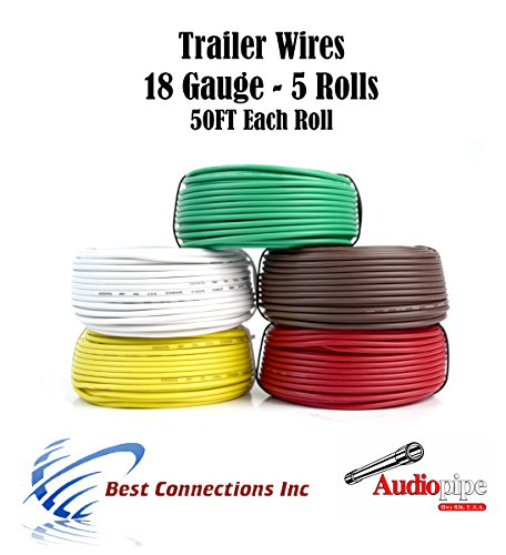 5 Way Trailer Wire Light Cable for Harness LED 50ft Each Roll 18 Gauge 5 Colors by Audiopipe
