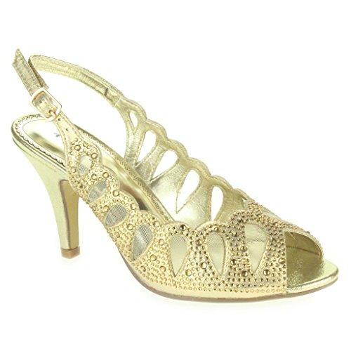 c102e511ad Mujer Señoras Corte con laser Diamante Peep Toe Tacón medio Noche Boda  Fiesta Paseo Sandalias Zapatos