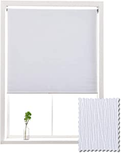 ALLBRIGHT Blackout Window Roller Shades, Striped Jacquard Thermal Insulated and UV Protection White Blackout Blinds, Easy Installation for Home and Office (23 x 72 inches, Static White)