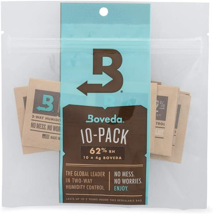 Boveda 62% RH 2-Way Humidity Control | Size 4 in 10-Count Resealable Bag