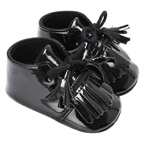 OverDose Baby Neugeborene Troddel Soft Sole Leder Schuhe Jungen Mädchen Kleinkind Krippe Prewalker (0-18Monate) Schwarz