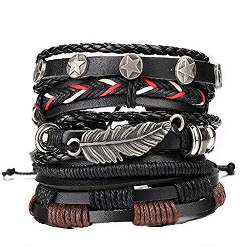 ❤️Jonerytime❤️Men Simple Vintage Woven Leather Bracelet Alloy Guitar Leather Bracelet Set (B) -