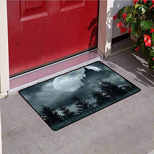 Jinguizi Halloween Welcome Door mat Magic Castle Silhouette Over Full Moon Night Fantasy Landscape Scary Forest Door mat is odorless and Durable W15.7 x L23.6 Inch Grey Pale Grey -