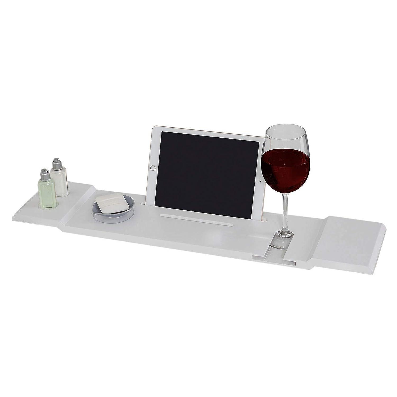 SoBuy® FRG104-W, Bamboo Bathtub Rack, Bath Tub Shelf Tray with Ipad Phone Glass Candle Holder, White