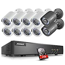 ANNKE 16-Channel 1080N HD Video Security System CCTV DVR Recorder with 2TB Hard Drive and (10) 720P Weatherproof Cameras with Remote Access, P2P/ E-Cloud Technology