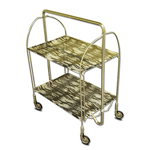 ShimonTech 2-shelf Elegant Stainless Steel Foldable Serving Cart, Indoor or Outdoor, Fully Adjustable Serving Cart Table with Wheels and Acrylic Trays, Collapsible for Easy Storage. - Gray Pattern (Food Cart On Wheels compare prices)