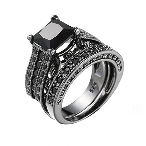 Black Gold Silver Wedding Bands - Clearance Vintage Rings ODGear 2-in-1 Girls Black Diamond Silver Engagement Wedding Band Ring Set,Lockets for Girls (US 7, Black)