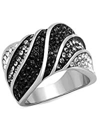 Women's Stainless Steel Three-Tone Crystal Cocktail Fashion Ring
