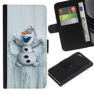 KingStore / Leather Etui en cuir / Apple Iphone 5 / 5S / Mu?eco de nieve Historieta blanco Invierno Carácter