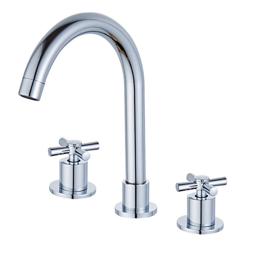 MEIBATH Waschtischarmatur Badezimmer Waschbecken Wasserhahn Küchenarmaturen Messing 3-Loch 3-teilige 2-Hebel Warmes und Kaltes Wasser Küchen Wasserhahn Badarmatur