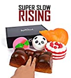 PREMIUM SLOW RISING JUMBO SQUISHIES PACKAGE Fruit Scented Kawaii Squishy Stress Food Toys Set CHICKEN LEG BREAD LOAF STRAWBERRY SHORTCAKE PEACH PANDA Birthday Gift for Kids By LootSoul