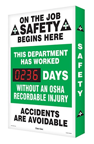 "UPC 846642088125, Accuform Signs SCA236 Aluminum Digi-Day Electronic Scoreboard, Legend ""ON THE JOB SAFETY BEGINS HERE - THIS DEPARTMENT HAS WORKED #### DAYS without AN OSHA RECORDABLE INJURY - ACCIDENTS ARE AVOIDABLE"", 28"" Height x 20"" Width x 2"" Depth, Green/Black on White"