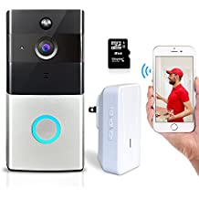 Elzoneta Video Doorbell Wireless Camera - 720P Wifi Doorbell Built-in 8G Card with Door Chime, 166° Wide Angle, IP55, Night Vision, PIR Motion Detection, Real-Time Video and Two-Way Audio