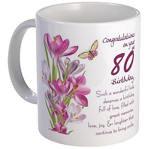 80th Birthday Floral Mug with Poem