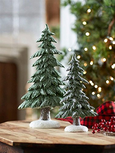 "Set of 2 Decorative Glistening Frosted Christmas Trees with Snow Covered Bottoms 16.75"" by Melrose"