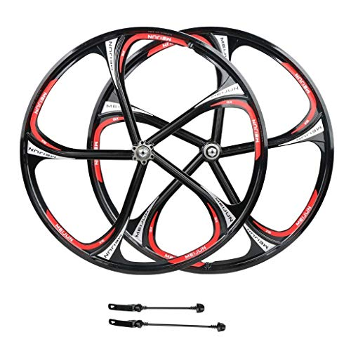 ZNND Bike Wheelset 26 Inch, Double Wall MTB Rim Quick Release V-Brake Hybrid/Mountain Bicycle Hole Disc 8 9 10 Speed Black (Size : 26 inch) ()