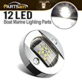 Partsam 3 Inch Round Navigation Light Polished Marine Stainless LED Transom Mount Stern Anchor 12-5050-SMD, Underwater IP68