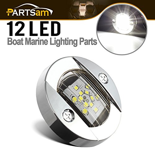 Light Flush Stern (Partsam 3 Inch Round Navigation Light Polished Marine Stainless LED Transom Mount Stern Anchor 12-5050-SMD, Underwater IP68)