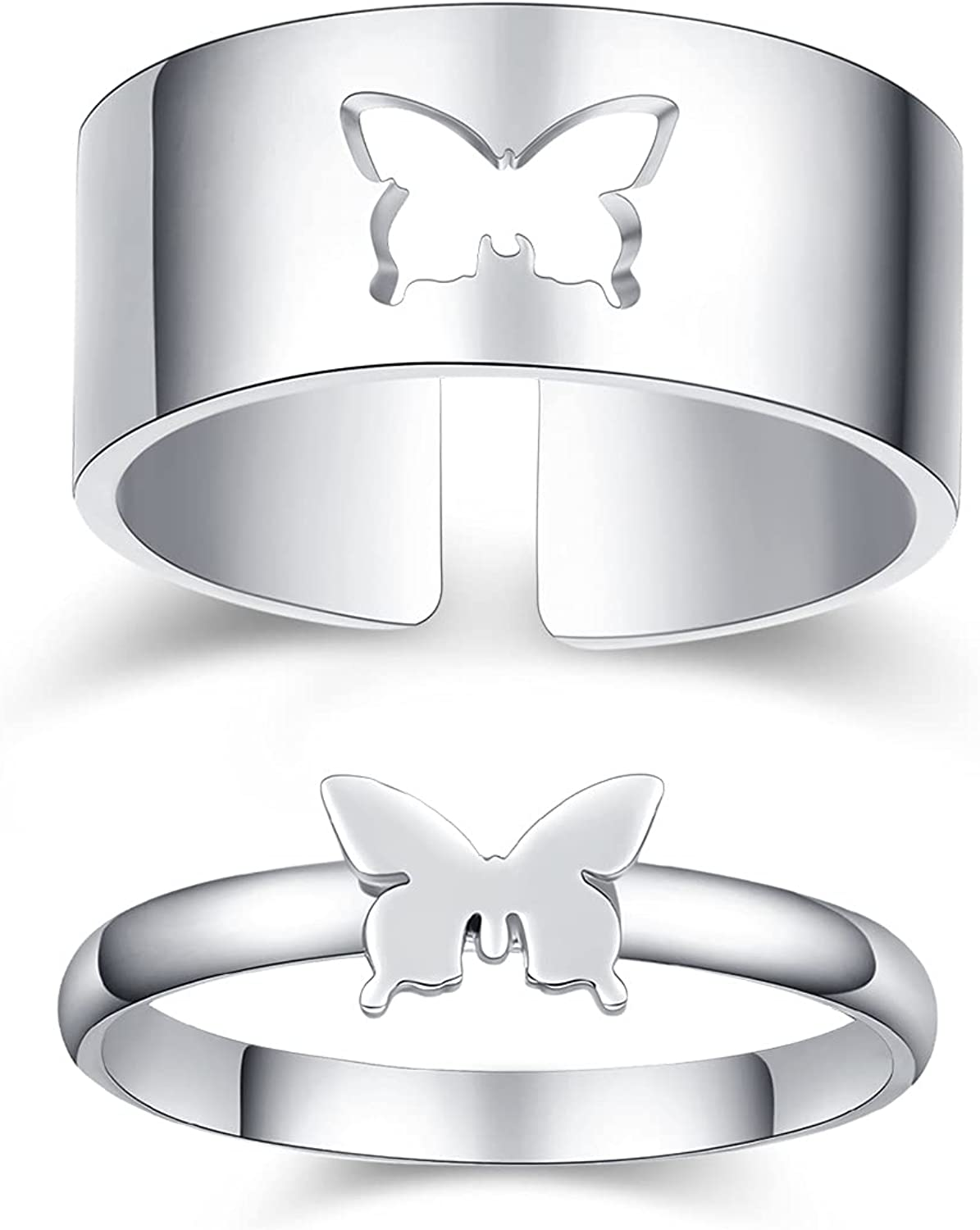 Butterfly Rings for Couples 18K White Gold Plated couple rings for him and her sets promise rings Wedding Engagement Bands Sets butterfly couple ring set Anniversary Birthday Gift