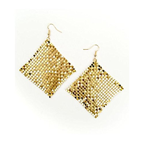 [Vintage Charm Halloween 70S Gold Mesh Earrings] (Good Couple Halloween Costumes)