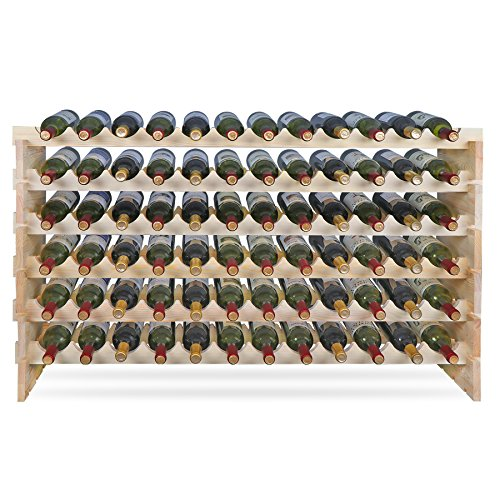 Smartxchoices 72 Bottle Large DIY Stackable Modular Wine Rack Free Standing Floor Wine Storage Rack Thick Wood Wine Holder Display Shelves, Wobble-Free (72 Bottle) by Smartxchoices