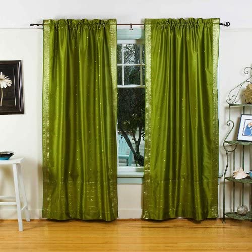 Lined-Olive Green 84-inch Rod Pocket Sheer Sari Curtain Panel India