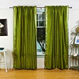 Lined-Olive Green 84-inch Rod Pocket Sheer Sari Curtain Panel (India) – Pair