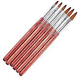 WOKOTO 6Pcs Red Wood Hand Nail Art Brush Set